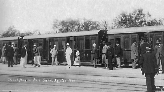 Karl May et Richard Plöhn à la gare de Port Saïd le 9 avril 1900